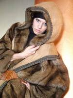Helen Yarmak – Russian barguzine sable hooded coat reversible to leather