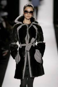 Carolina Herrera - Blue muskrat coat with ash wool felt trim