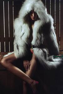 Hooded Fox Fur Coat and Heels. Editorial Image from Marie Claire (ESP) October 2007