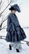 Dior by John Galliano silk gazar coat with silver fox hem