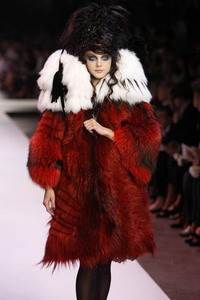 Christian Lacroix - Red dyed silver fox coat with white wolverine oversized collar