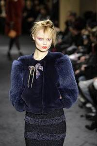 Sonia Rykiel – Blue sheared beaver jacket with blue fox sleeves