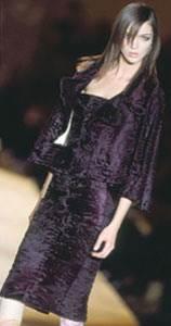 Платье и пиджак из меха каракульчи.