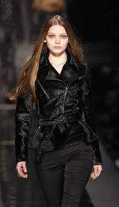 John Richmond – Embossed black pony-hair motorcycle jacket